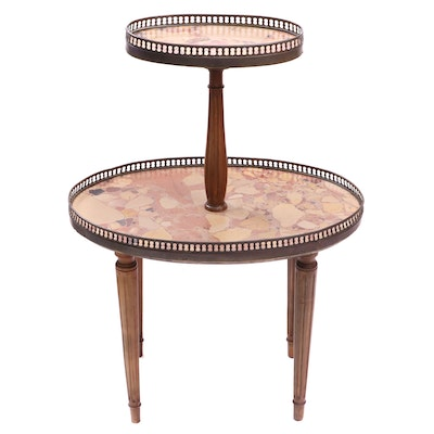 Louis XVI Style Mahogany Brass Gallery Two-Tier Dumbwaiter Side Table