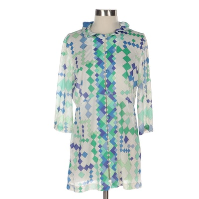Emilio Pucci for Formfit Rogers Geometric Print Ruffle Collar Cover-Up