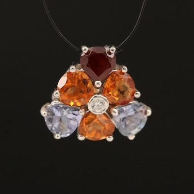 Sterling Garnet, Zircon and Tanzanite Cluster Pendant