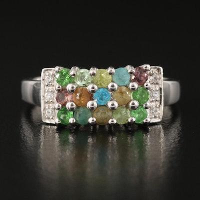 Sterling Silver Garnet, Apatite and Zircon Ring