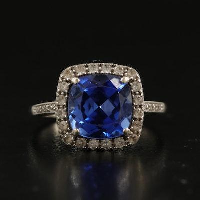 10K Sapphire, Diamond and White Sapphire Halo Ring
