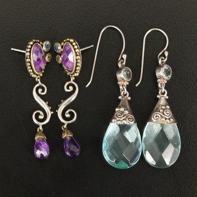 Sterling Amethyst, Aquamarine and Topaz Drop Earrings Featuring Sajen