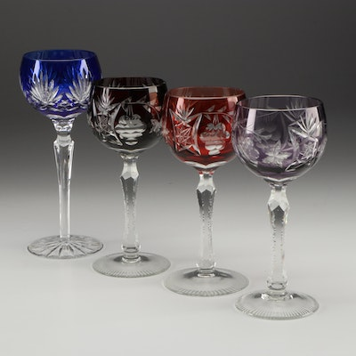 Bohemian Style Multi-Color Cut to Clear Wine Glasses, Late 20th Century