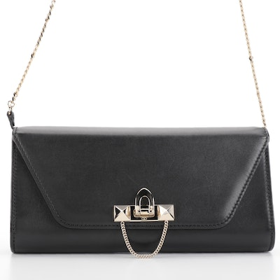 Valentino Demilune Clutch in Black Leather with Detachable Shoulder Strap