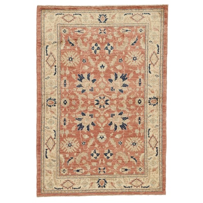 4'3 x 6'3 Hand-Knotted Indo-Turkish Oushak Area Rug