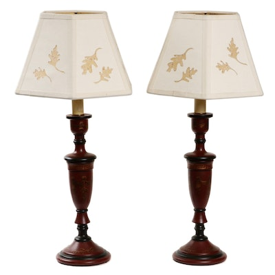 Painted Wood Candlestick Table Lamps with Leaf Motif Silhouette Shades
