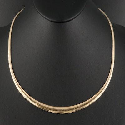 Italian 14K Graduated Omega Necklace