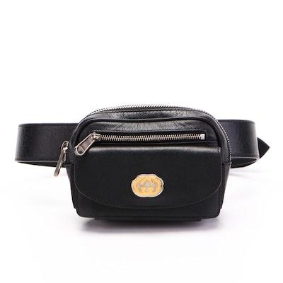 Gucci Morpheus Mini Belt Bag in Black Crackled Calfskin