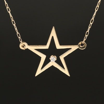 14K 0.01 CT Diamond Solitaire Star Necklace