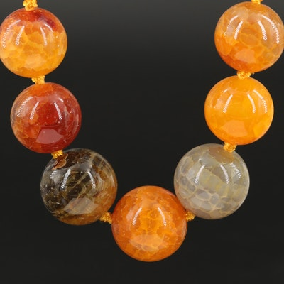 Graduated Agate Bead Necklace with Sterling Silver Clasp
