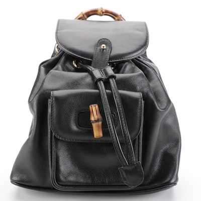 Gucci Mini Backpack in Black Grained Leather with Bamboo Handle and Toggle
