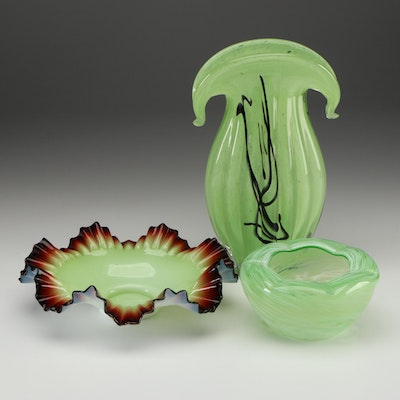 Fenton Style Green and Red Fluted Glass Bowl with Other Green Bowl and Vase