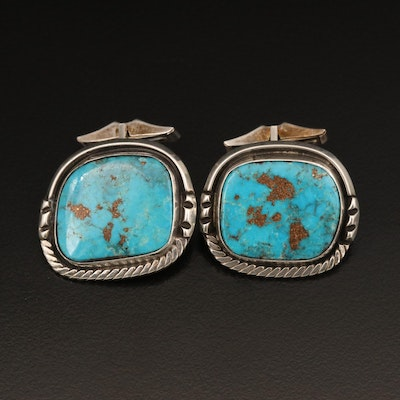 Southwestern Sterling Turquoise Cufflink with Wire Wrap Detail