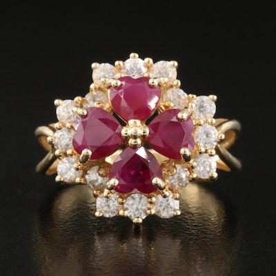 14K Ruby and White Zircon Ring