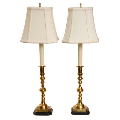 Pair of Lacquered Brass Candlestick Table Lamps, Mid/Late 20th Century