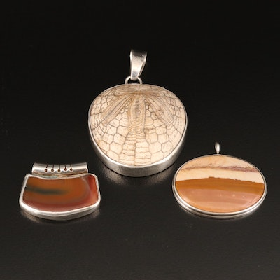 Sterling Fossilized Sand Dollar, Agate and Jasper Pendants