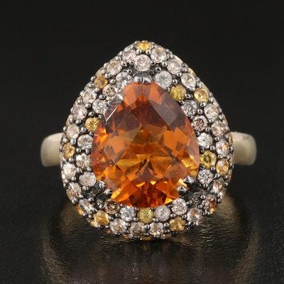 14K Citrine, White Sapphire and Diamond Ring