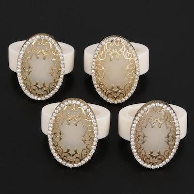 Set of Embellished Acrylic Napkin Rings with Gold Tone Trim