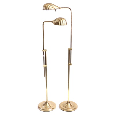 Pair of Brass Clam Shell Shade Adjustable Floor Lamps