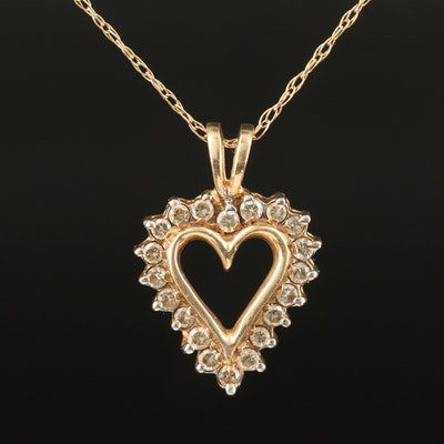 10K 0.26 CTW Diamond Heart Pendant on 14K Singapore Chain Necklace