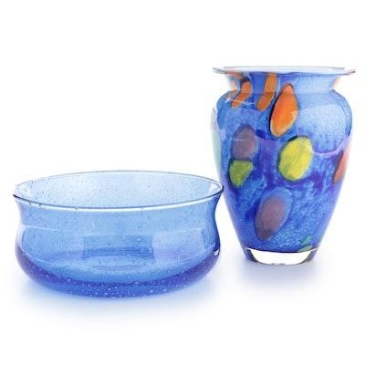 Carpathian Art Glass Vase with Other Glass Centerpiece Bowl