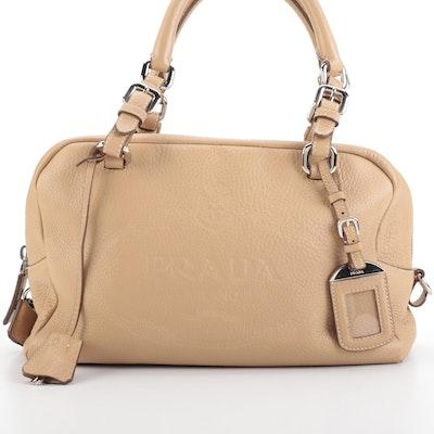 Prada Medium Bauletto Bag in Tan Vitello Daino Leather with Embossed Logo