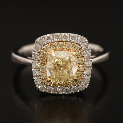 18K Gold 2.03 CTW Fancy Yellow Diamond Ring with GIA Report