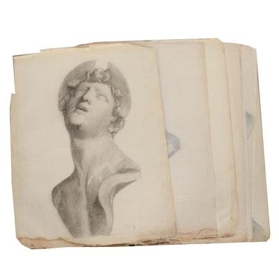 Joe Fraley Artist Folio of Drawing Studies, Early 20th Century
