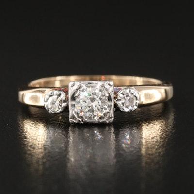 Vintage 14K 0.26 CTW Diamond Ring with Palladium Setting