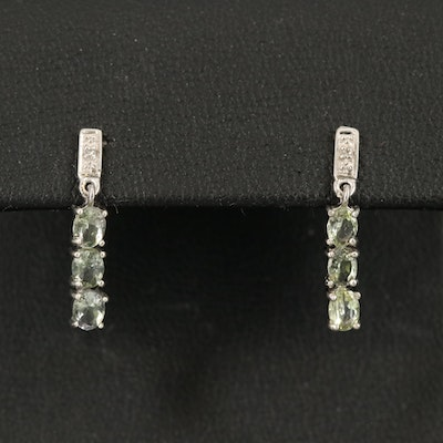 Sterling Zoisite and Topaz Earrings