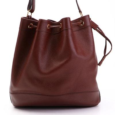 Hermès Market 28 Shoulder Bucket Bag in Dark Brown Courchevel Leather