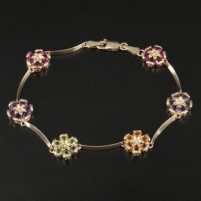 14K Gemstone Flower Station Bracelet
