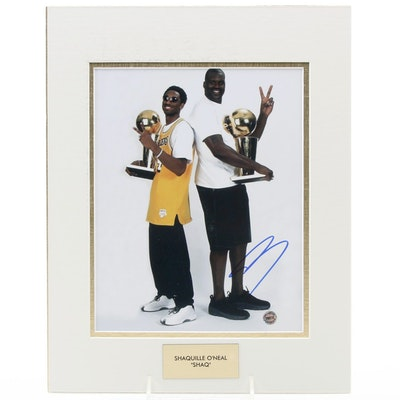 """Shaquille O'Neal """"Shaq"""" Signed Holding Trophies with K. Bryant Photo Print, COA"""