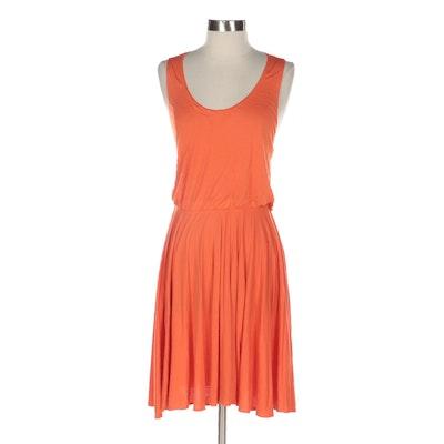 Yigal Azrouël Orange Jersey Knit Sleeveless Dress with Gathered Waist