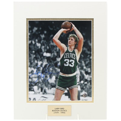 Larry Bird Signed Boston Celtics (1979-1992) NBA Photo Print, COA