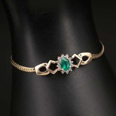 14K Emerald and Diamond Bracelet