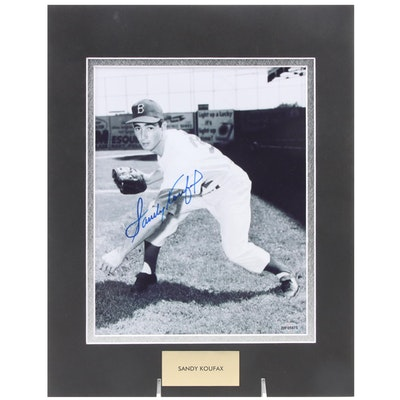 Sandy Koufax Signed Brooklyn Dodgers Hall of Fame Pitcher Photo Print, COA