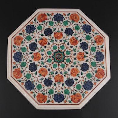 Pietra Dura Semi-Precious Stone Inlaid Marble Small Table Top