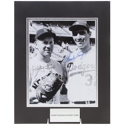 Whitey Ford and Sandy Koufax Dual Signed Hall of Fame Pitchers Photo Print, COA
