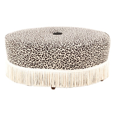 Leopard Print-Upholstered and Bullion-Fringed Cocktail Ottoman
