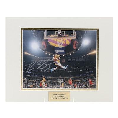 """LeBron James """"King James"""" Signed Los Angeles Lakers NBA Photo Print, COA"""