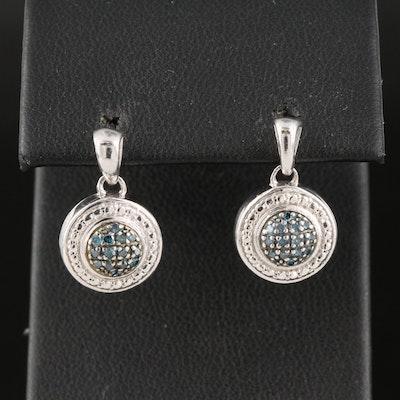 Sterling Silver Diamond Cluster Drop Earrings