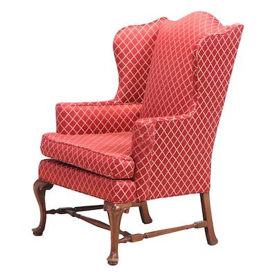 Queen Anne Style Wing-Back Arm Chair