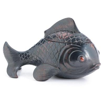 Fitz & Floyd Hand-Painted Ceramic Fish Form Lidded Box
