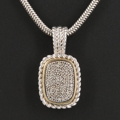 Sterling Silver Pavé Diamond Pendant Necklace with 14K Accent