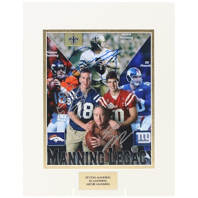 """Archie, Peyton, and Eli Manning Signed """"Father and Son"""" Quarterbacks Photo Print"""