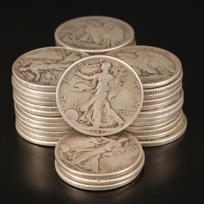 Forty Walking Liberty Silver Half Dollars, 1930s and 1940s