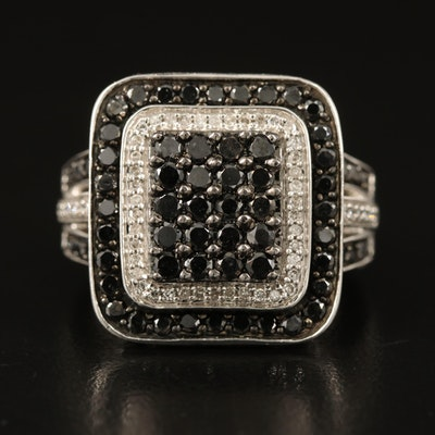 10K 1.47 CTW Diamond Square Cluster Ring