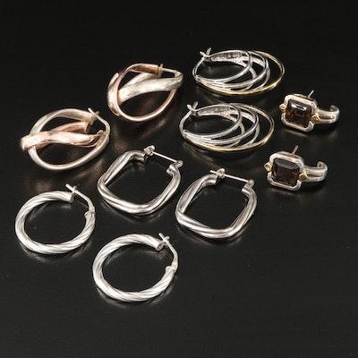 Sterling Silver Hoop Earrings and Smoky Quartz J-Hoop Earrings