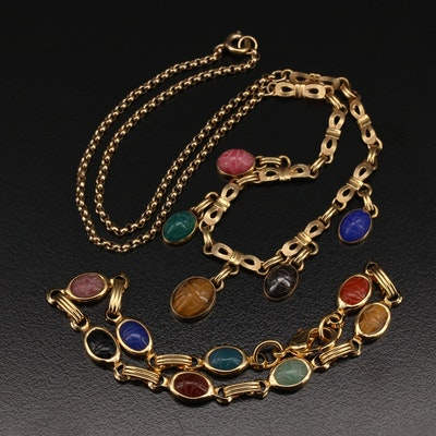 Tiger's Eye, Chalcedony, Jasper and Gemstone Scarab Bracelet and Necklace